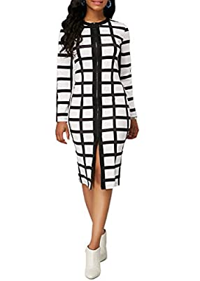 Front zipper closure Bodycon Dress Plaid design, Round Neck, Short sleeve Bodycon Business Dress Plus Size Women Dress 5xl New Autumn and Winter Dress Casual Black and White Plaid Zipper Slim Office Tight Dress OL style ,Wear to Work Business Dress. ...