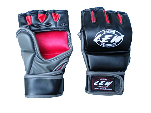 LEW Black/Grey Skintex Leather Thumb Protection MMA Grappling Gloves