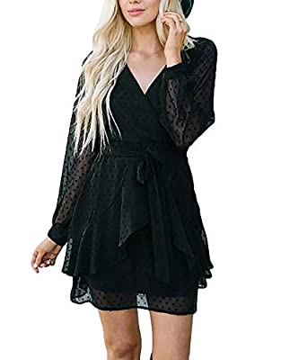 High Quality Soft Material, Chiffon, Comfortable to Wear Style: V-neck, Long Sleeve, High Waist, Rose 3D Pots, Side Zipper, Elastic and Belt, Above Knee-length Occasions: Party, Holiday, Tour, Trip, Daliy Wear, and Special Occasions, Like Some Partie...