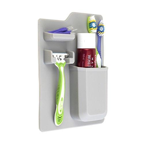 Organizer da bagno per spazzolini, supporto a muro in silicone per dentifricio e rasoio. Accessori per il bagno Caddy, antiscivolo e facili da pulire