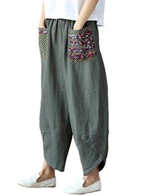 Mallimoda Donna Pantaloni Sciolto Pantalone Larga