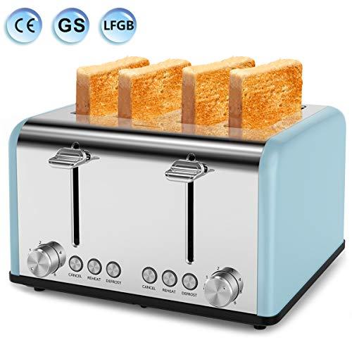 Tostapane, tostapane a 4 fette, 6 livelli regolabili, 3 funzioni, vassoio rimovibile, 1650 W,...