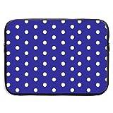 White Blue Dots Polka Hexagon Navy.PNG Bolsa para portátil de 13-15 Pulgadas - Funda para maletín Funda para MacBook Pro/Notebook