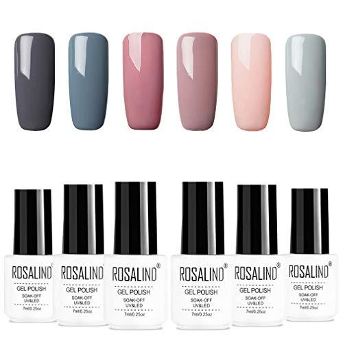 ROSALIND esmalte semi-permanente para uñas kit, 6pcs/lot Color desnudo uv gel polish manicura set, 7ml…