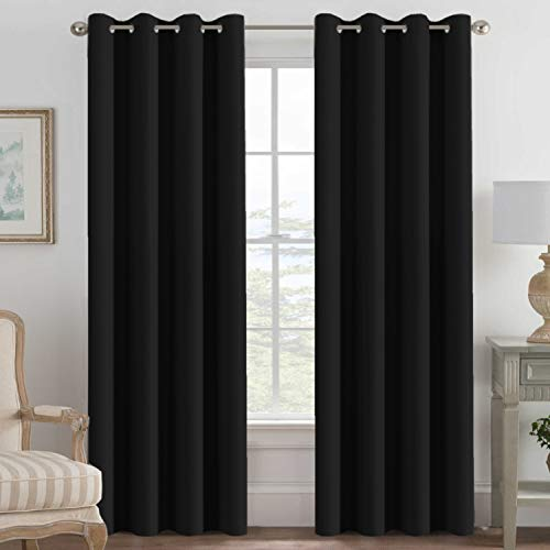 100% Blackout Curtains for Patio Sliding Door, Thermal Insulated Full Blackout Curtains for Bedroom Living Room Curtains 96 inches Long, Grommet Top Window Shades - Solid Jet Black (Set of 1 Panel)
