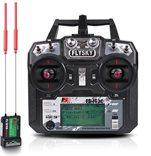 Flysky Fs i6X Radiocomando, RC Trasmettitore Radio (10 Canali, 2.4GHz Protocollo, AFHDS 2A) con Flysky Ricevente ia10b RC Ricevitore Receiver for Drone Quadcopter by LITEBEE (Mode 2)