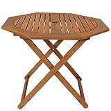 Sunnydaze Meranti Wood Octagon Outdoor Folding Patio Table - Outside Dining Furniture for Deck, Porch, Balcony, Garden, Backyard and Lawn - Teak Oil Finish