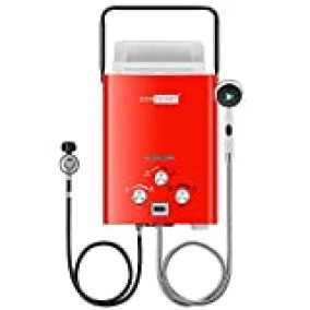 VIVOHOME Outdoor Portable 1.6GMP 6L Propane Gas Tankless Water Heater Digital Display RV Camping Water Heater Overheating Protection White Easy to Install (Red)