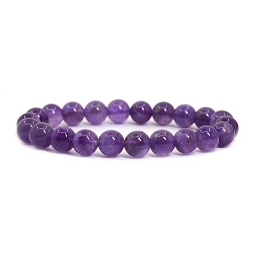 Natural A Grade Amethyst Gemstone 8mm Round Beads Stretch...