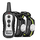 PATPET Dog Training Collar with 2 Receivers, Shock Collars for Dogs with Remote, Dog Shock Collar with Beep Vibration Shock for Small Medium Large 2 Dogs for 15 to 100 lbs