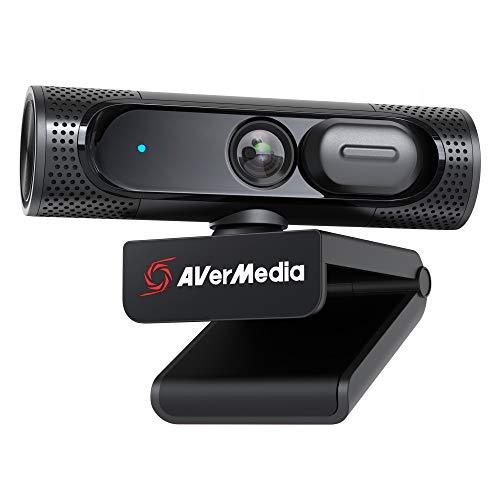 AVerMedia PW315 Webcam, 1080p/60fps Video Chat und Aufnahme, Abdeckblende, USB-Anschluss, Fester Fokus, Weites anpassbares Blickfeld, Funktioniert mit Skype, Zoom, Teams - Schwarz (PW315)