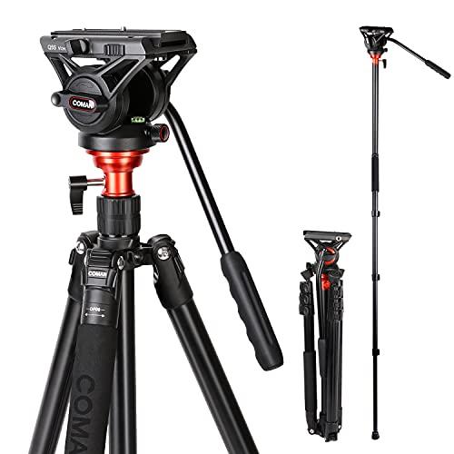 Fluid Head Tripod, COMAN Video Camera Tripod Monopod Aluminium...