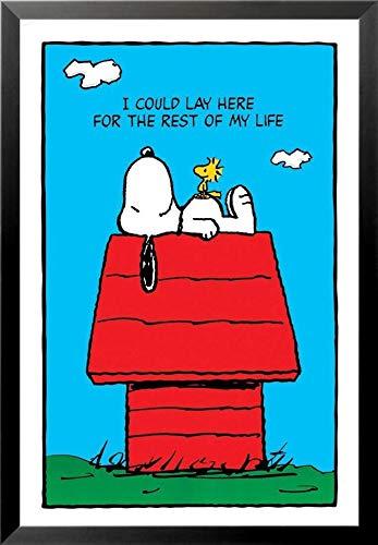 Buyartforless Work Framed Peanuts Snoopy - I Could Just Lie Here 36x24 Art Print Poster, Black & White