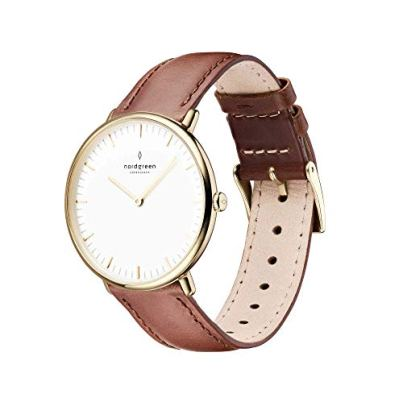Nordgreen Native Scandinavian Gold Unisex Analog 36mm Watch with Brown Leather Strap 10055