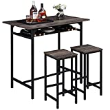 IBF 3 Pieces Rustic Kitchen Breakfast Bar Table Set,2 Person Table and Chair Set Pub Table and Chairs Set,Counter Height Dining Table Set with 2 Bar Stools,Gray Oak,42 inch