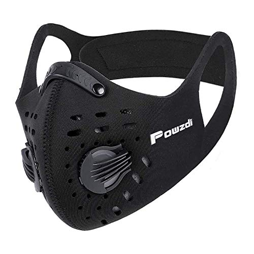Powzdi Dustproof Sports Mask Anti-Pollution Mask with Activated Carbon Filter 2 Valves Dustproof Face Mask Sheet Mask for Motorcycling Woodworking Cycling Running Bicycle Outdoor Activities