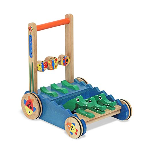 Melissa & Doug Chomp & Clack Alligator Push Toy (Wooden Activity Walker, Makes Sounds When Pushed, Great Gift for Girls and Boys - Best for Babies and Toddlers, 12 Month Olds, 1 and 2 Year Olds)