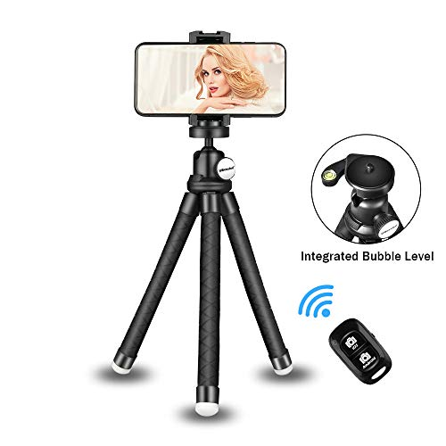 Phone Tripod Stand, Portable Cellphone Camera Tripod with Bluetooth Remote, Compatible with iPhone and Android Phone, Great for Selfies/Vlogging/Streaming/Photography/Recording