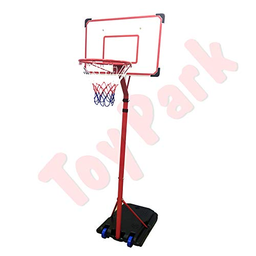 Toy Park Portable Basketball Hoops/Portable Basketball Stand with Height Adjustable 210-260cm Backboard, Free Standing Basketball Hoop Net System on Wheels
