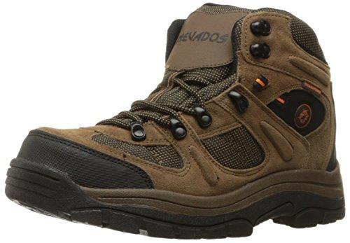 Nevados Men's Klondike MID Waterproof Hiking Boot, Earth Brown/Black/Tiger Lily Orange, 10 2E US