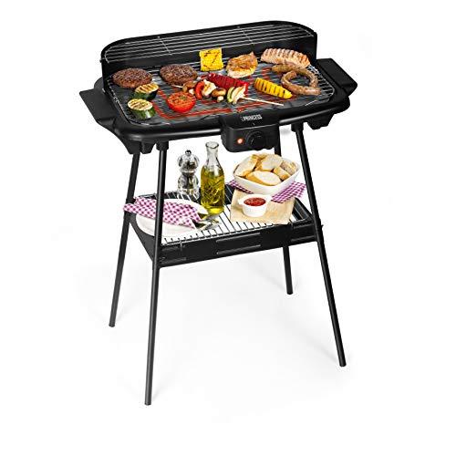 Barbecue elettrico Princess 112247 Dotato di supporto Grandi dimensioni 47 x 28 cm, Nero