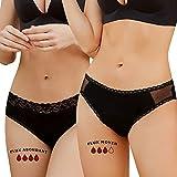 Solufox Culotte Menstruelle Lavable Flux Abondant =3 tampons + Sac Lavage, Culotte Règle Ultra Absorbante Coton/Bambou Oeko tex, Culottes Menstruelles Femme 0 Déchet Serviette Hygiénique Noir Taille M