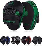 AQF Boxeo Almohadilla De Entrenamiento Cuero Sintético Mitones Gancho Y Jab MMA Kick Boxing Muay Thai Entrenamiento (Verde)