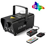 Halloween Fog Machine with Lights - 3 Stage LED Lights with 12 Colors & Strobe Effect for Party Wedding Holiday Christmas - Fansteck 500W Upgraded Wireless Remote Potable Smoke Mach (500W-Metal Black)