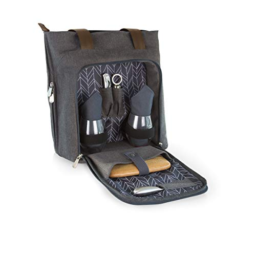 LEGACY - a Picnic Time Brand Sonoma Insulated Tote with Wine and Cheese Service for Two, Grey