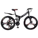 Folding Mountain Bike for Men - 26'' Wheel 21 Speed Full Mountain Bike for Adults Teens & Kids | Cheap Lightweight Foldable City Commuter Bike Road Bike Outroad Bike - Gifts for Friends Teens & Kids