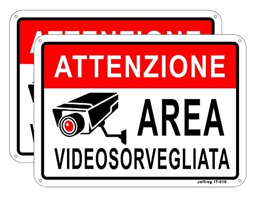 Joffreg Area Videosorvegliata,Telecamera Videosorveglianza per Negozio e Proprietà Privata,18 x 25 cm,in Alluminio Riflettente,2 pz