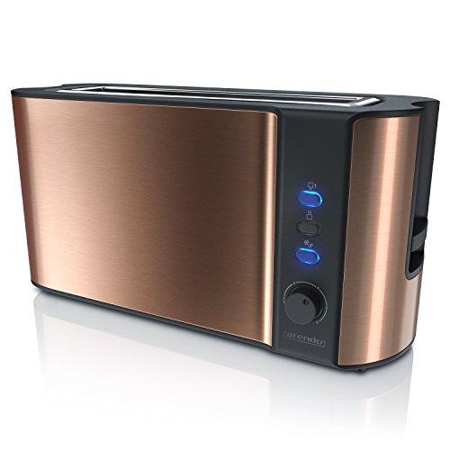 Arendo - Automatik Toaster Langschlitz - Defrost Funktion - Wärmeisolierendes Doppelwandgehäuse - integrierter Brötchenaufsatz - herausziehbare Krümelschublade - GS-Zertifiziert