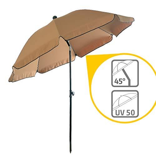 Sonnenschirm Balkon – Verwandelt kleine Balkone in schattige Oasen – Kleiner Sonnenschirm mit UV-Schutz, knickbar, höhenverstellbar - Ø 2 m, rund