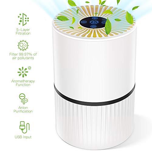 Luftreiniger mit HEPA Filter und Ionisator, Duomishu Air Purifier mit Nachtlicht 3 Timer-Funktion 5 Stufen-Filterung für 99,97{b52d0e731470c7341c955ddeb5db769235585eac7822a499f5e15a857a53cc41} Filterleistung, gegen Staub Pollen Geruch, für Allergiker und Raucher