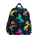 Mochila para niños y niñas Mini Mochila de Viaje con Clip para el Pecho Unicornio Colorido