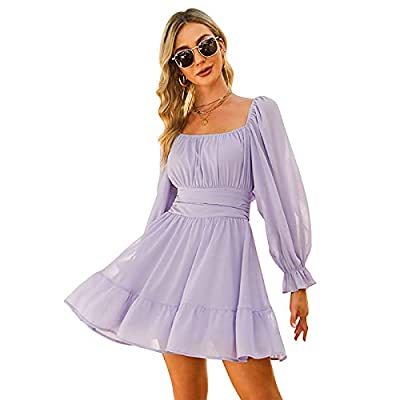 Lightweight, flowy and comfy. Flattering sweety for wearing in spring and autumn. Feature: tie back, open back, square collar, ruched bust, smocked waist, elastic high waist, lantern sleeve, long sleeve, elastic cuff, above knee length, A line, slim ...