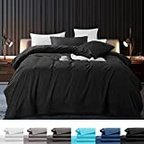 SONORO KATE 100% Pure Egyptian Cotton Sheets Sets,Cooling Bed Sheets 800 Thread Count Long Staple Cotton,Sateen Weave for Soft and Silky Feel, Fits Mattress 16'' Deep Pocket (Black, Queen)