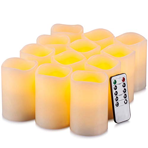 Yutime Flameless Candle Set of 12 (D 3' x H 4') Battery Operated LED Pillar Real Wax Candles with Remote Control Timer