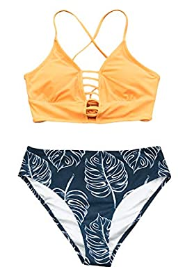 Design: Strappy and Lace Up Bikini Top. Mid Rise and Leaf Printed Bikini Bottom. About Cup Style: With Padded Cups The Pattern is One of a Kind - The Exact Pattern You Receive Will Be Slightly Different Than the One Shown. Garment Care: Regular Wash....