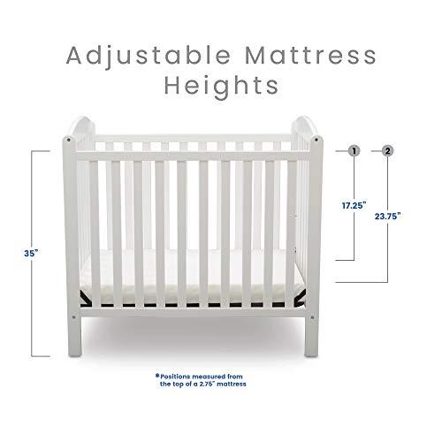 Product Image 12: Delta Children Emery Mini Convertible Baby Crib with 2.75-inch Mattress, Bianca White