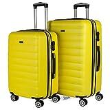 ITACA - Juego de Maletas de Viaje Rígidas 4 Ruedas Trolley 55/65/75 cm ABS. Extensibles. Cómodas Prácticas y Ligeras. Mediana y Grande. Calidad y Precio 71216, Color Amarillo