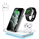 WAITIEE Wireless Charger, 3 in 1 Qi-Certified 15W Fast Charging Station for Apple iWatch Series...