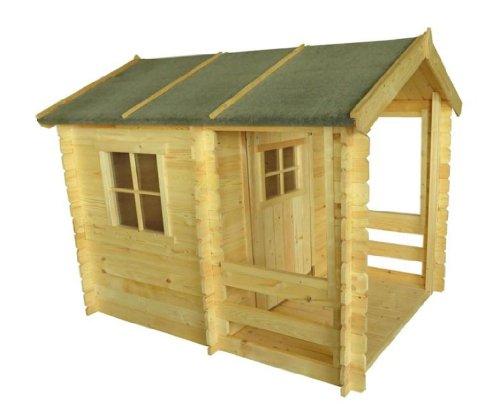 Kinderspielhaus - 1,75 x 1,30 Meter aus 19mm Blockbohlen - Kinder Gartenhaus Kinderspielhaus Kinderhaus Spielhaus Holz inkl. Dachpappe und Fußboden
