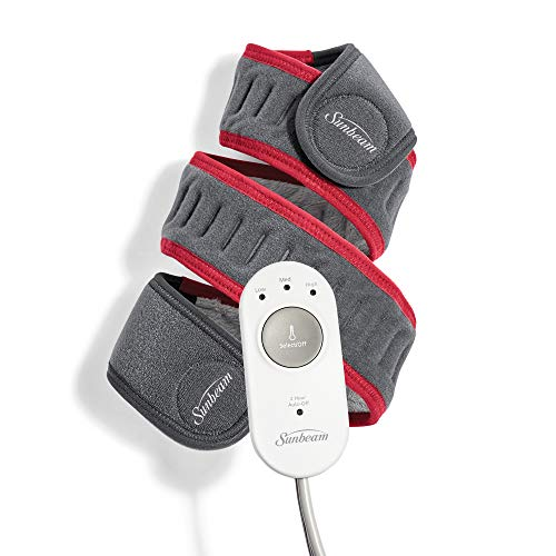Sunbeam Flexfit Heating Pad Wrap for Pain Relief Customized Heating Pad for Multiple Areas of The Body 3 Heat Settings with 2 Hour Auto-Off 42 X 2.5', Grey/Red
