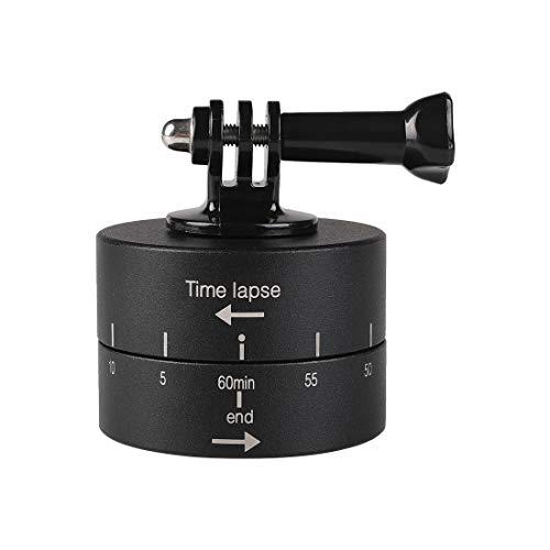 GALAXSPAREPARTS. Rotazione Automatica a 360 Gradi 60 Minuti Stabilizzatore Time Lapse Adattatore Testa for GoPro (Nero) (Colore : Black)
