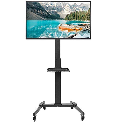 VIVO Black Mobile TV Cart for 32 to 55 inch LCD LED Plasma Flat Panel Screens | Rolling TV Stand with Wheels (STAND-TV05L)