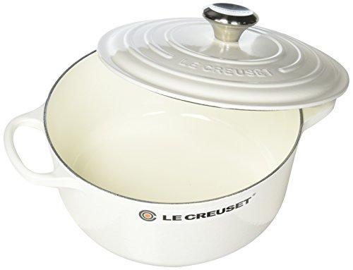 Le Creuset LS2501-2416SS Enameled Cast Iron 4.5 quart Signature Round Dutch Oven, White