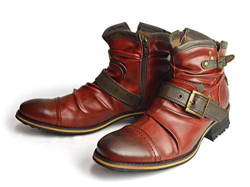 [ジーノ] ドレープ エンジニア ブーツ ショート ze2468 RED 27cm