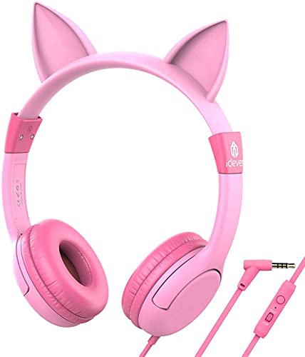 iClever Kids Headphones for Birthday Girls Gift - Cat Ear Headphones with Mic for Kids on Ear, Volume Limited 85/94dB - Wired Children Headphones for Online Learning/School/Travel/Tablet, Pink