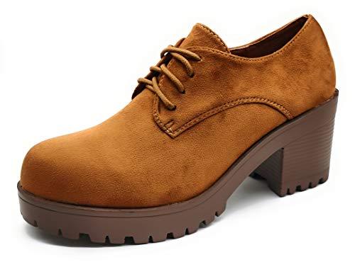 P&L Zapatos Blucher de Tacon Ancho con Cordones para Mujer Oxford